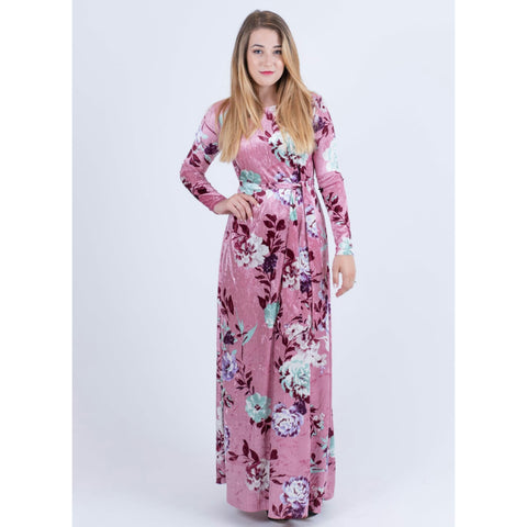 Velvet Floral Maxi Dress-No Waist: Pink - The Mimi Boutique