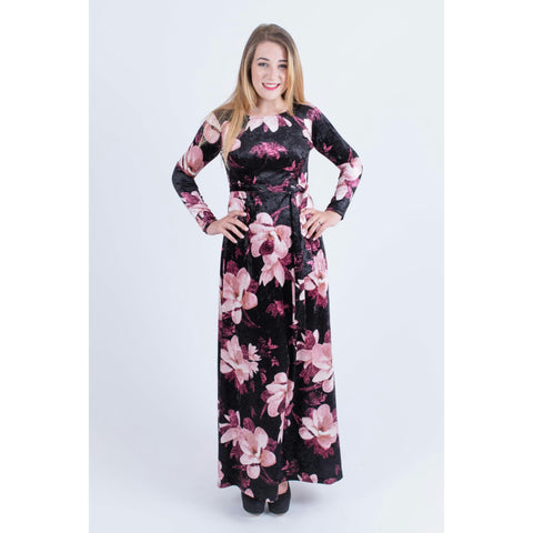 Velvet Floral Maxi Dress-No Waist: Black/Pink - The Mimi Boutique