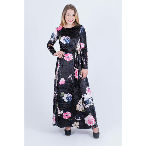 Velvet Floral Maxi Dress-No Waist: Black/Navy/Pink - The Mimi Boutique