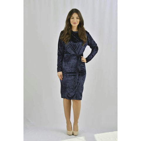 Tali Tie Dress: Navy Velvet - The Mimi Boutique