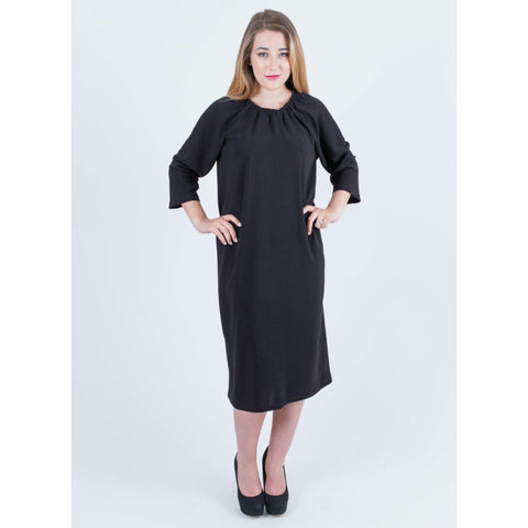 Crepe Tie Neck Dress: Black - The Mimi Boutique