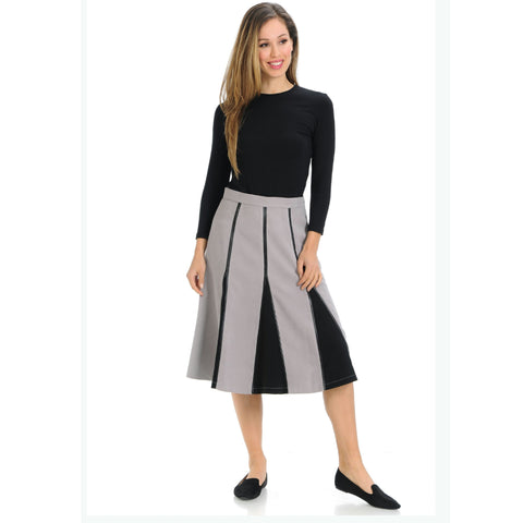 Lynne Suede Skirt: Grey/Black - The Mimi Boutique