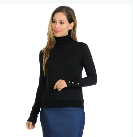 Button Sleeve Turtleneck Sweater by Ivee - The Mimi Boutique