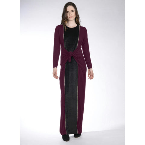 Maxi Boho Velour: Wine/Black/Gold - The Mimi Boutique