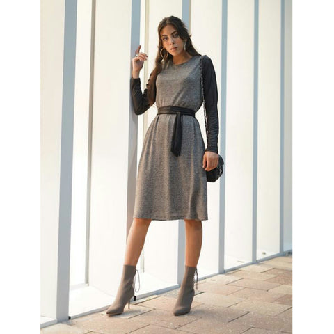 Leather Sleeve Dress by Daniella Faye - The Mimi Boutique