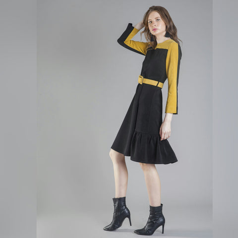 Black and Yellow Belt Dress - The Mimi Boutique