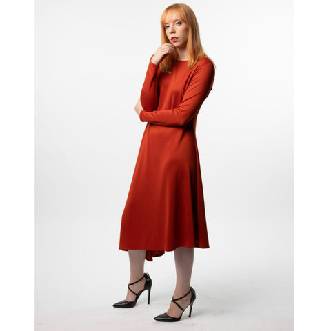 Asymmetrical Career Dress: Rust - The Mimi Boutique