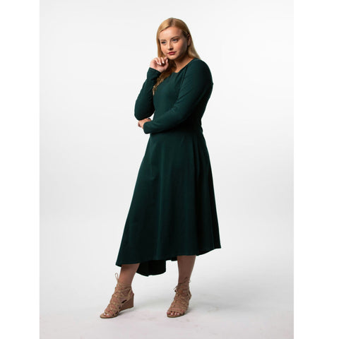Asymmetrical Career Dress: Green - The Mimi Boutique
