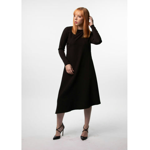 Asymmetrical Silky Dress: Black - The Mimi Boutique