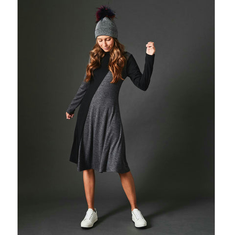 Colorblock Sweater Dress: Black/Grey - The Mimi Boutique