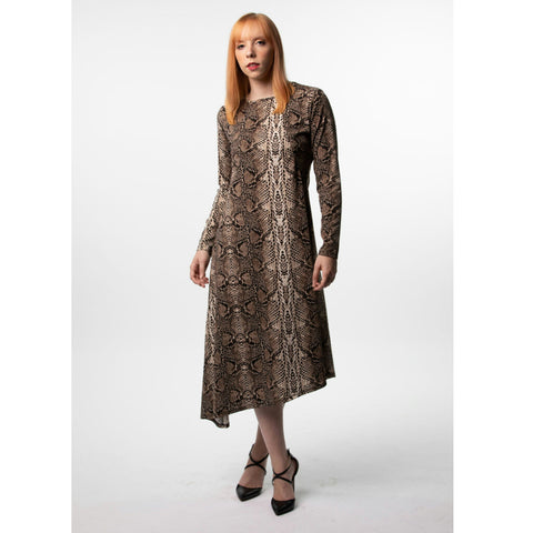 Asymmetrical Dress: Snake Print By Havah Tribe - The Mimi Boutique