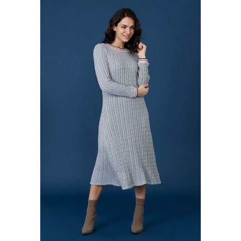 Varsity Cableknit Sweater Dress - The Mimi Boutique