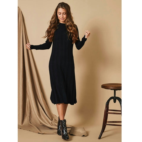 Melissa Ribbed Sweater Dress: Black - The Mimi Boutique