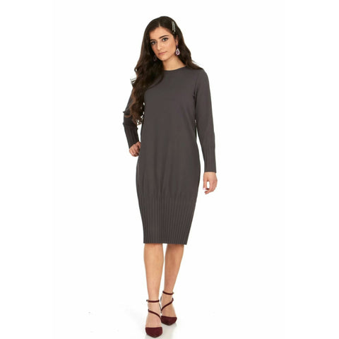 Pleated Cocoon Dress: Grey - The Mimi Boutique