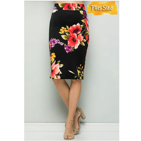 Floral Pencil Skirt: Plus Size - The Mimi Boutique