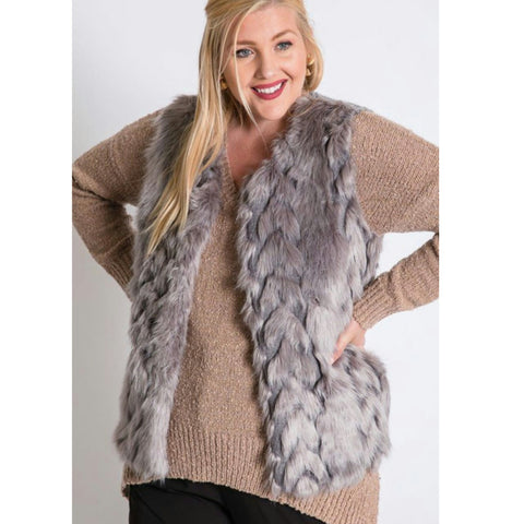 Knit Fur Vest-Plus Size - The Mimi Boutique