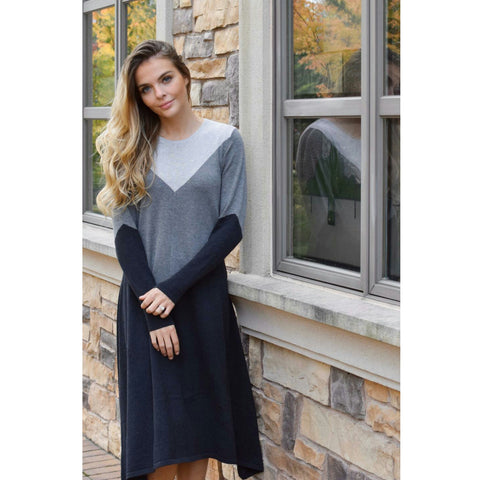 Tri Color Sweater Swing Dress: Charcoal/Steel/Cloud - The Mimi Boutique