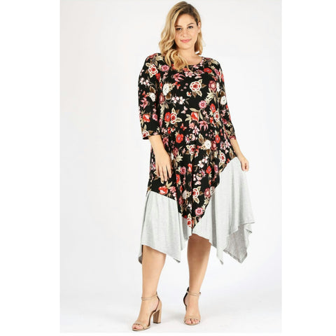 Floral Flare Midi Maxi: Plus Size - The Mimi Boutique