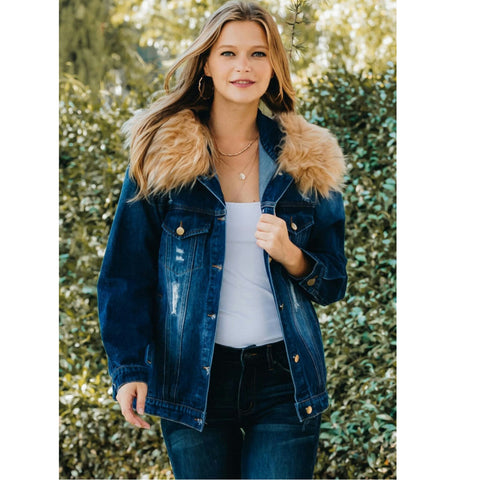 Distressed Denim Jacket With Fur Hood - The Mimi Boutique