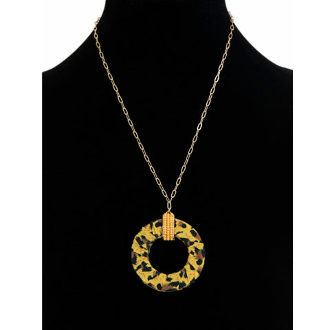Yellow Short Chain Leopard Necklace - The Mimi Boutique