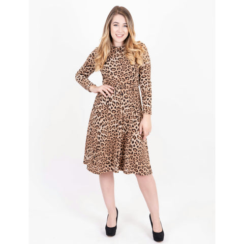 Everything Sparkle Dress: Brown Leopard - The Mimi Boutique