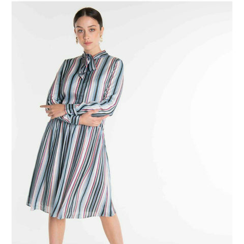 Shimmer Stripe Shirt Dress: Blues - The Mimi Boutique