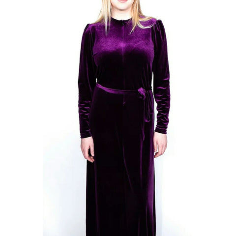 Velvet Zipper Robe: Purple - The Mimi Boutique