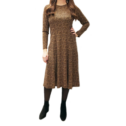 Cheeta Tunic Dress: Brown