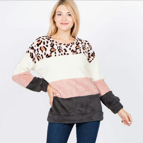 Fluffy Colorblock Leopard Sweater