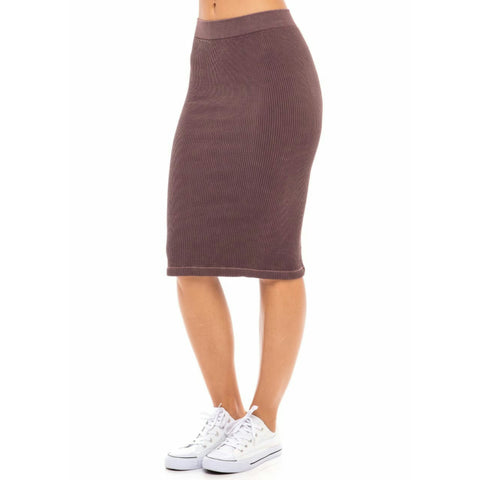 Ribbed Skirt: Winter Mauve - The Mimi Boutique