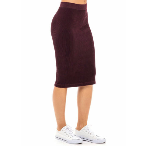 Ribbed Skirt: Merlot (Burgundy) - The Mimi Boutique