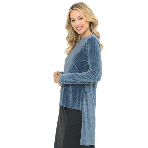 Velour High Low Ribbed Glitter Top - The Mimi Boutique