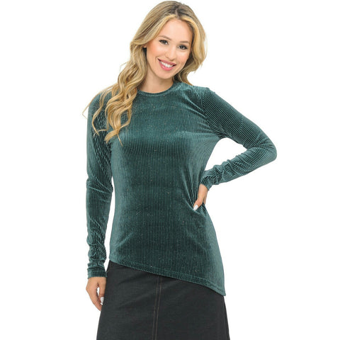 Asymmetrical Ribbed Velour Glitter Top - The Mimi Boutique