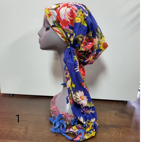 Cotton Floral Tassel Pre-Tied Headscarf