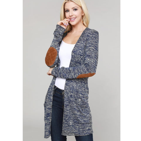 Suede Elbow Button Back Heathered Cardigan
