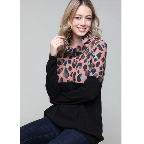 Cowl Neck Colorblock Leopard sweater