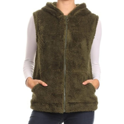 Fluffy Hoodie Vest (2 Colors)