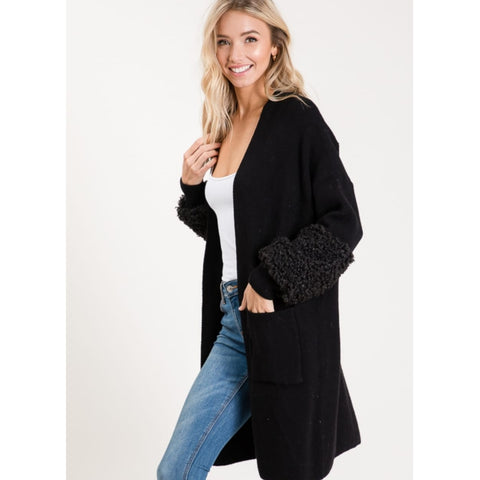 Sherling Sleeve Pocket Cardigan - The Mimi Boutique