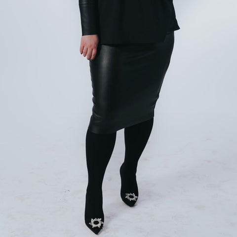 Leather Pencil Skirt by Drama (Plus Size) - The Mimi Boutique