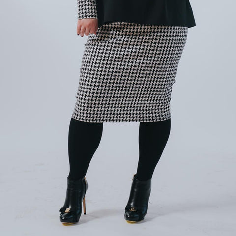 Houndstooth Pencil Skirt by Drama (Plus Size) - The Mimi Boutique