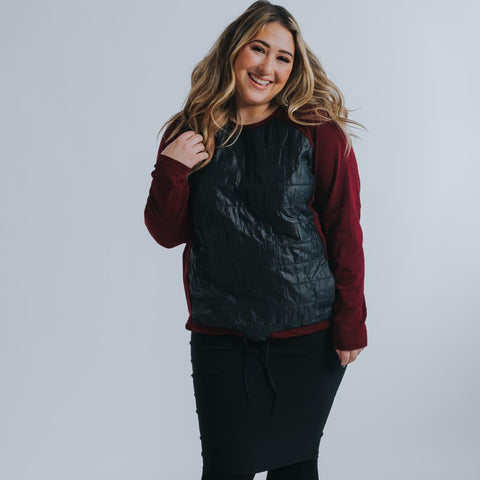 Puffer Top by Drama: Wine (Plus Size) - The Mimi Boutique