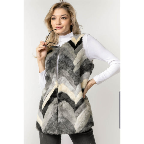 Grey Mix Fur Vest - The Mimi Boutique