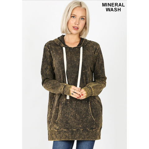 Mineral Wash Hoodie: Olive/Yellow - The Mimi Boutique