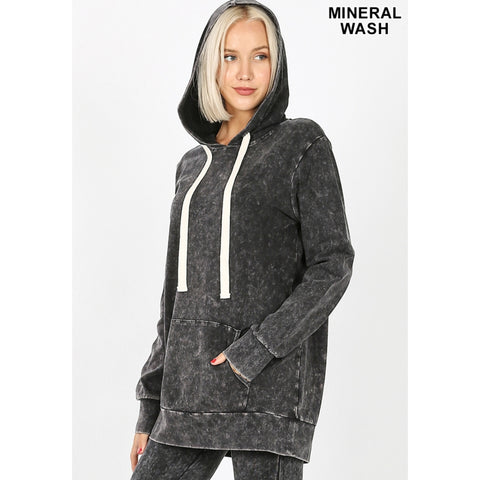 Mineral Wash Hoodie: Charcoal/Black - The Mimi Boutique