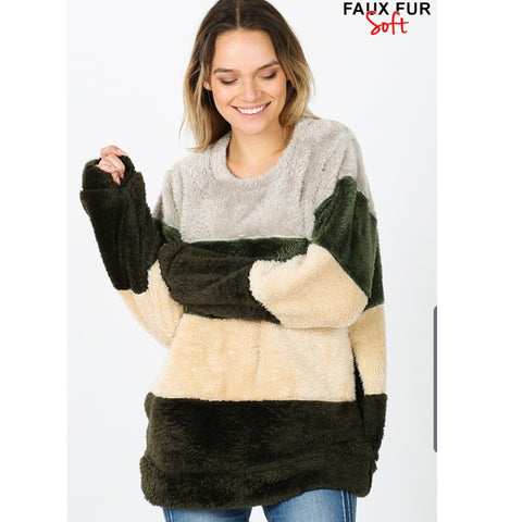 Fluffy Colorblock Sweater: Green - The Mimi Boutique