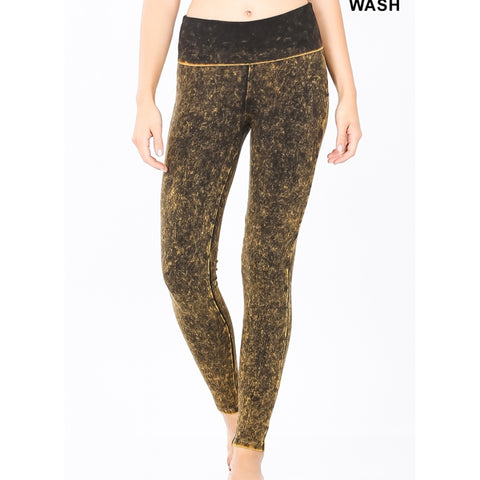 Mineral Wash Leggings: Desert Yellow - The Mimi Boutique