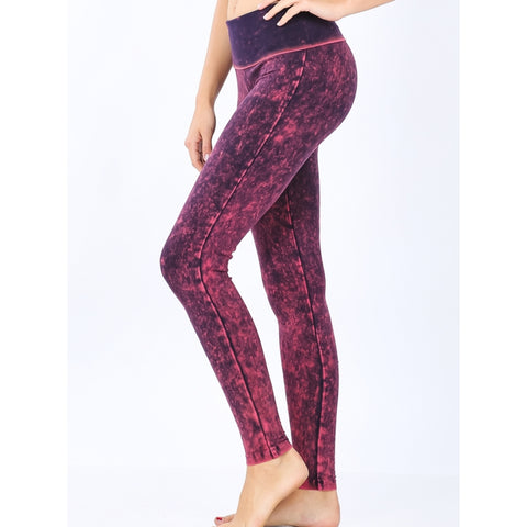 Mineral Wash Leggings: Pink - The Mimi Boutique