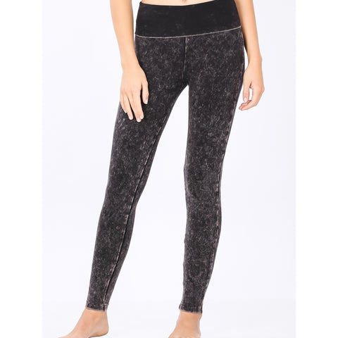 Mineral Wash Leggings: Charcoal/Pink - The Mimi Boutique