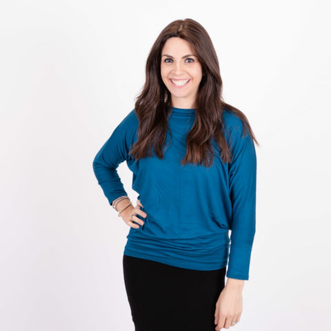 Dotted Dolman Top: Teal - The Mimi Boutique