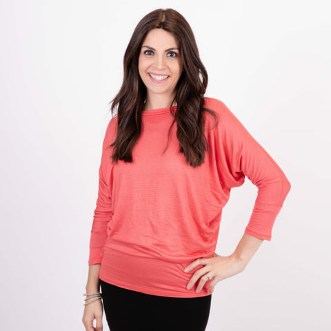 Dotted Dolman Top: Coral